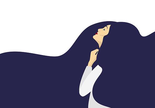 Girl with long dark hair