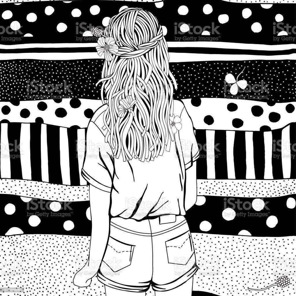 Coloriage Fille Avec Modele.Fille Avec Les Cheveux Longs Et Des Fleurs Page De Livre De