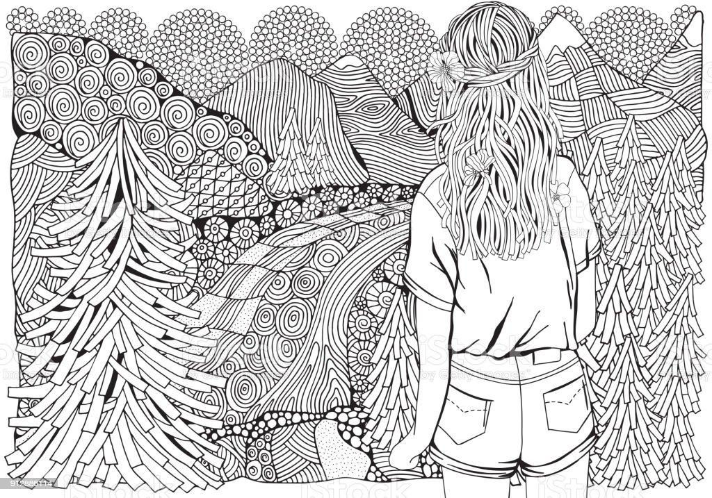Ormanda Uzun Saçlı Kız çam Ağaçları Nehir Ve Dağ Boyama Kitabı Için