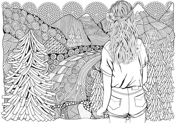illustrazioni stock, clip art, cartoni animati e icone di tendenza di girl with long hair in the forest. fir trees, river and mountain. pattern for coloring book. hand-drawn, ethnic, retro, doodle, vector. - fiordi