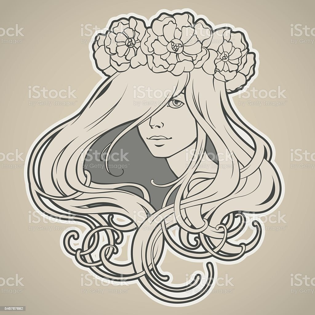 Girl with long hair in wreath Art Nouveau style vector art illustration