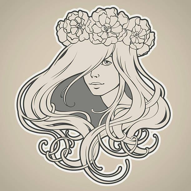 Girl with long hair in wreath Art Nouveau style vector art illustration