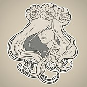 Girl with long hair in wreath Art Nouveau style