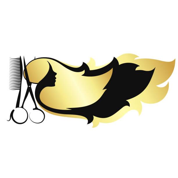 長い髪はさみと櫛を持つ少女 - 美容室点のイラスト素材/クリップアート素材/マンガ素材/アイコン素材