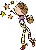 Girl with long legs and a basket of stars