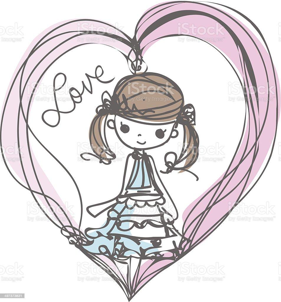 girl with love illustration cartoon look vector file - 免版稅不完整圖庫向量圖形