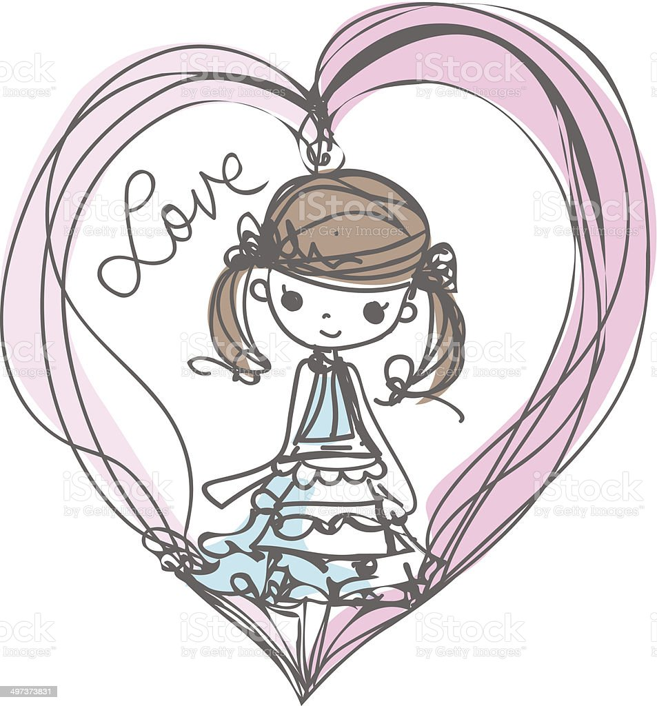 girl with love illustration cartoon look vector file向量藝術插圖