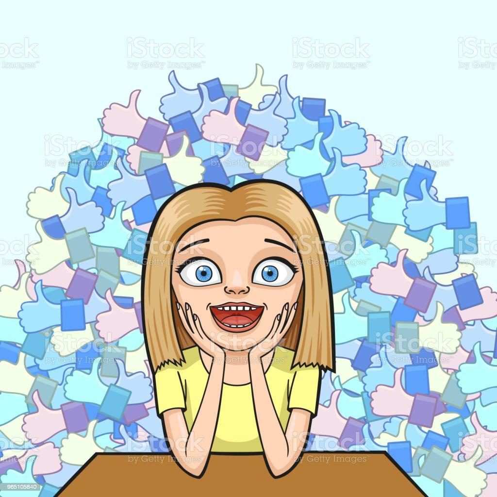 Girl with many likes girl with many likes - stockowe grafiki wektorowe i więcej obrazów adolescencja royalty-free