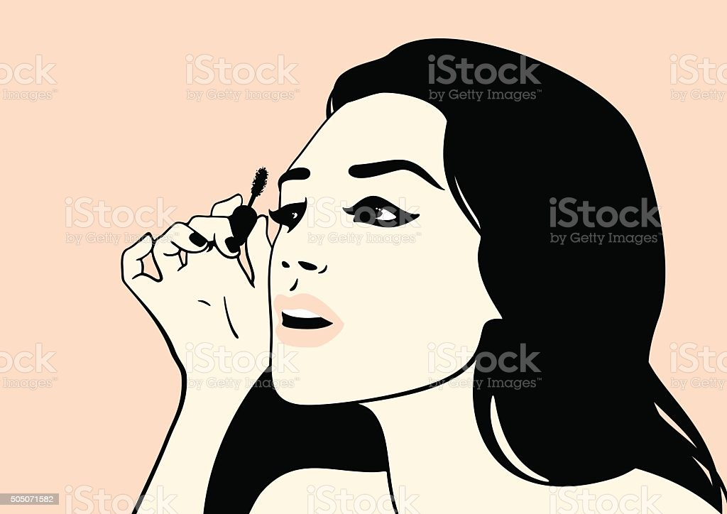 Girl with mascara brush vector art illustration