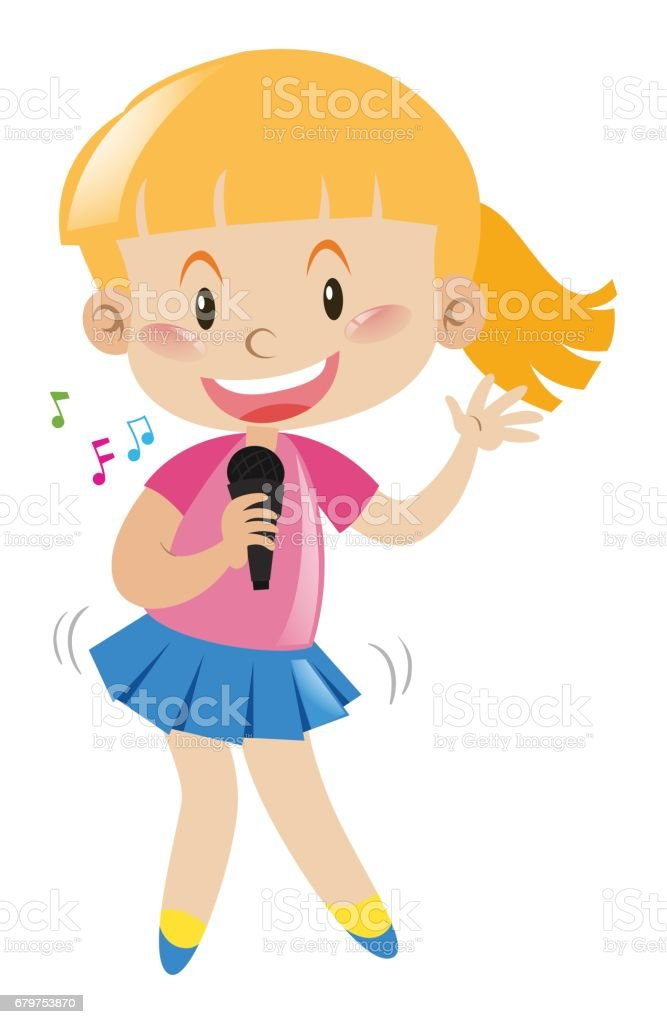 royalty free clip art of a cute girl singing clip art vector images rh istockphoto com