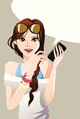 Vector File of Pretty Girl Using Mobile Phone