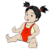 A girl with oriental features. The brunette doll sits barefoot in a red overall.