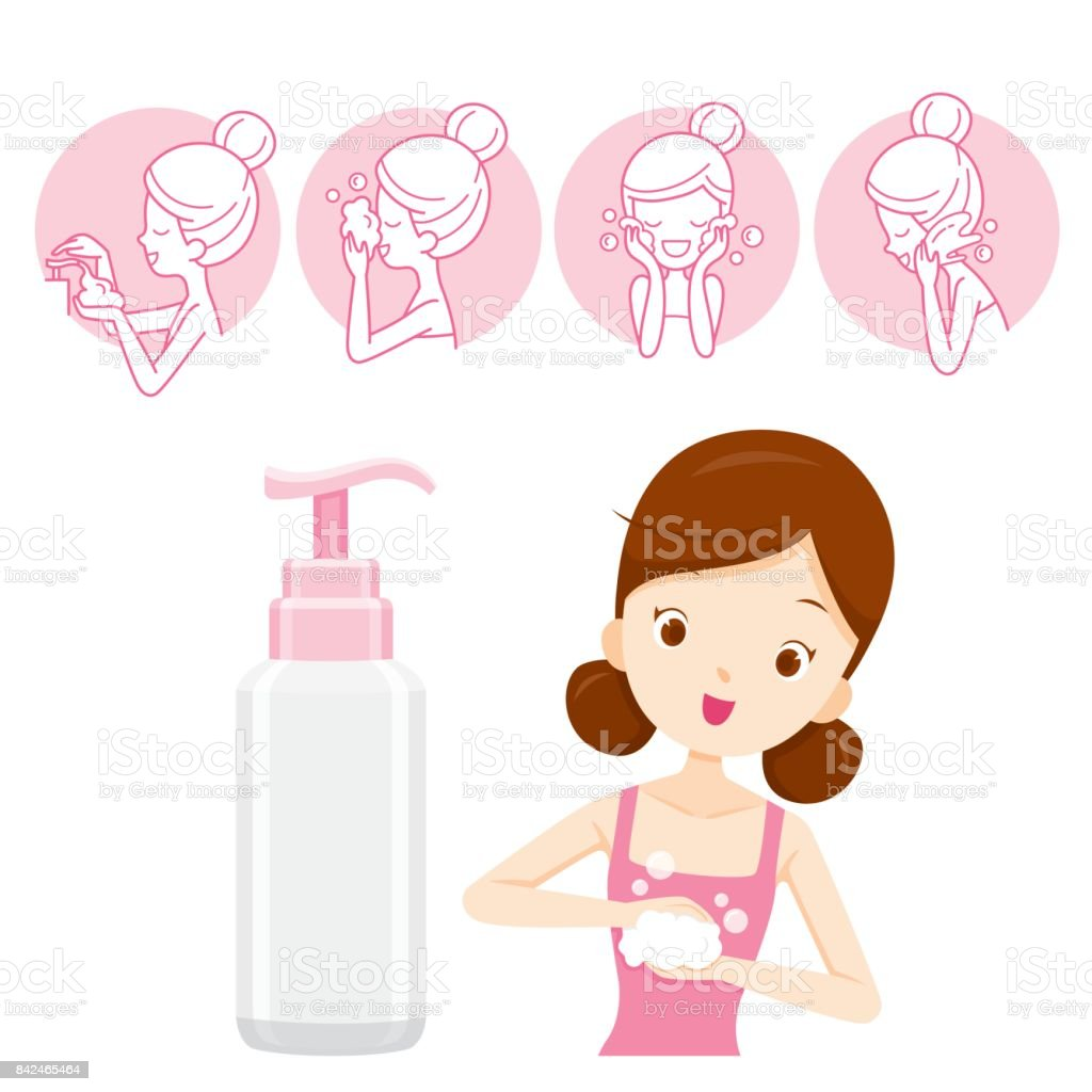 Girl With Packaging And Cleaning Face Icons vector art illustration