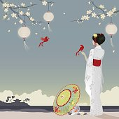 I pretty girl wearing a kimono in a peaceful scene with paper lanterns hanging from cherry blossom trees, 2 little birds and a parasol providing shade for 2 goldfish in a bowl.