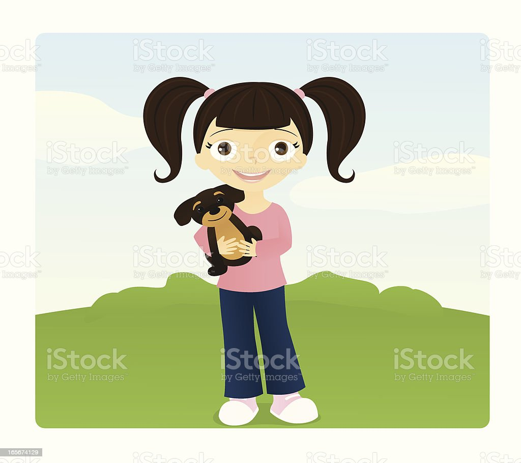 Girl with Pigtails vector art illustration