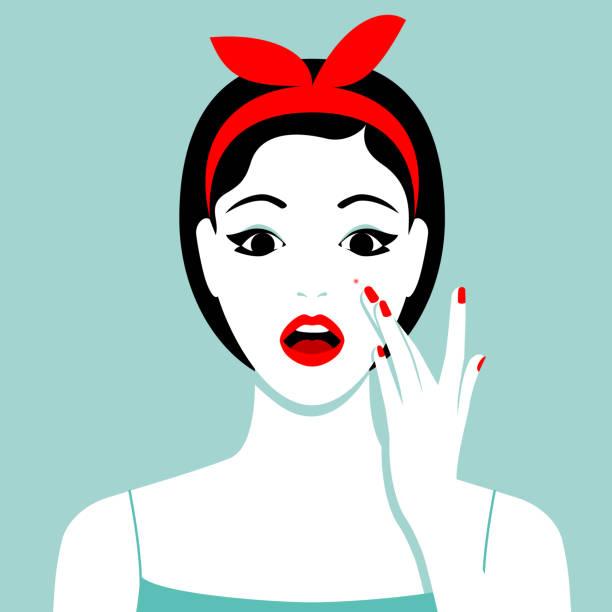 彼女の頬ににきびを持つ少女 - スキンケア点のイラスト素材/クリップアート素材/マンガ素材/アイコン素材