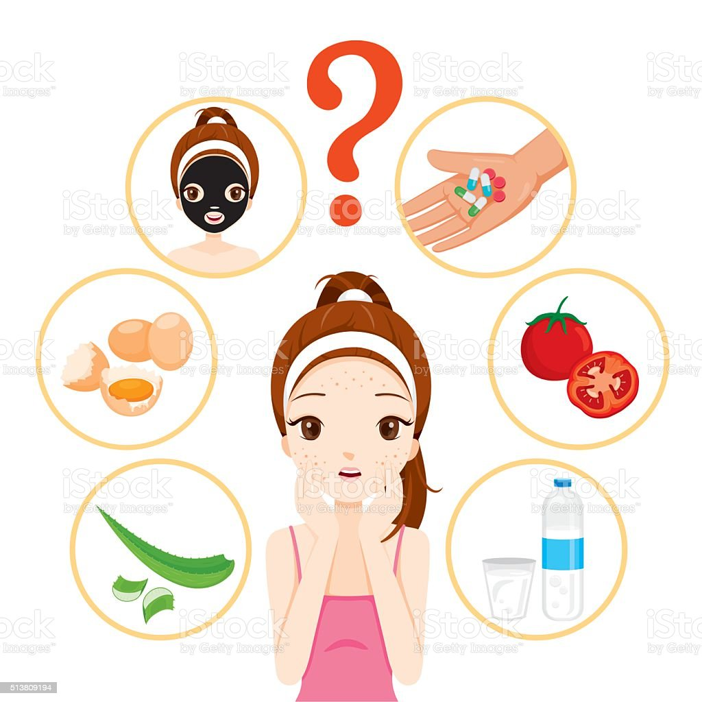 Girl With Pimples On Her Face And Treatment Icons Set Stock Illustration