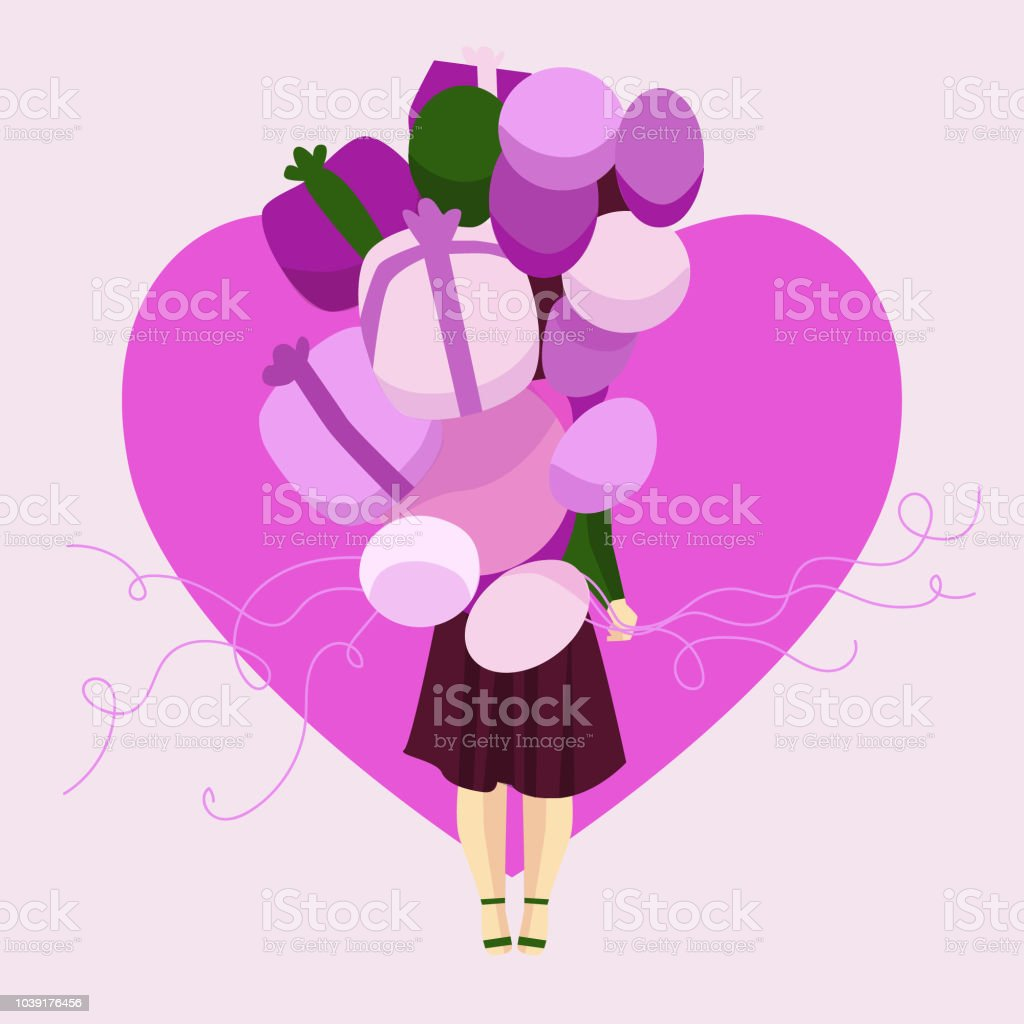 Girl with pink balloons vector art illustration