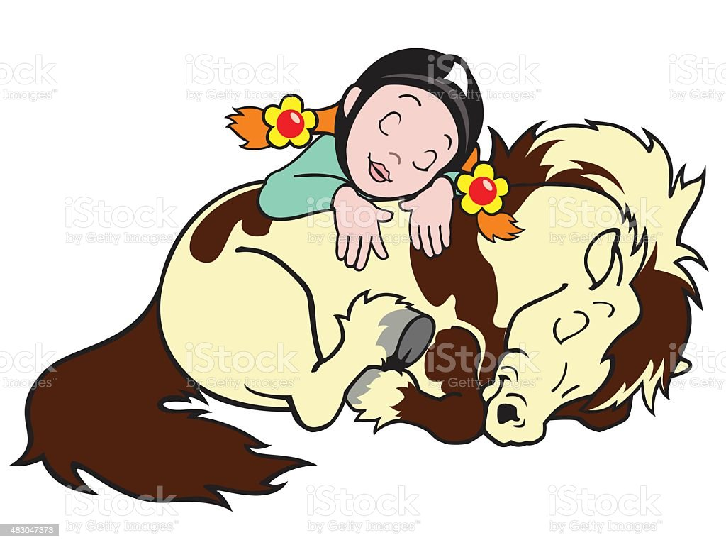 girl with pony royalty-free stock vector art