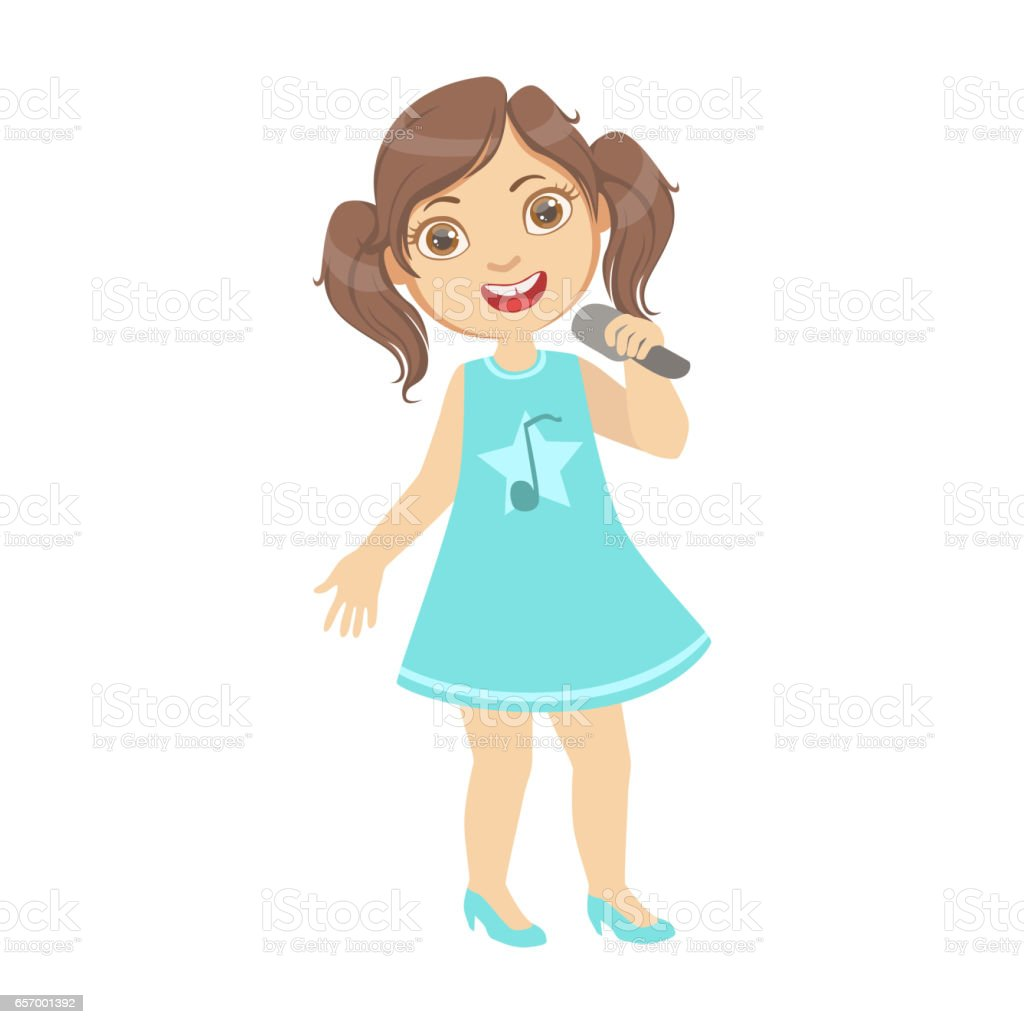 girl with ponytails singing kid performing on stage school showcase rh istockphoto com Single Music Notes Music Note Clip Art