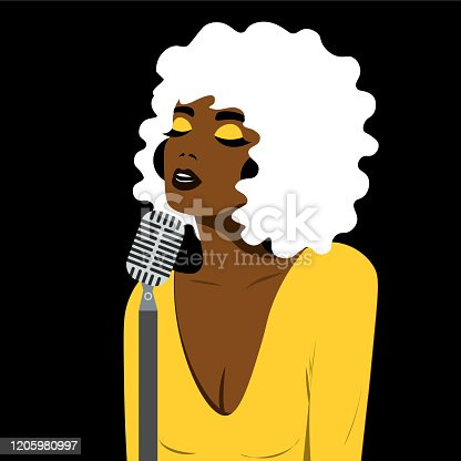 istock Girl with pop art style sings in blues style. Bright color illustration of a girl. 1205980997
