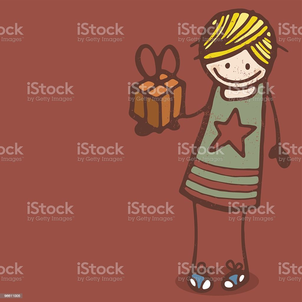 Girl with Present - Royalty-free Birthday stock vector