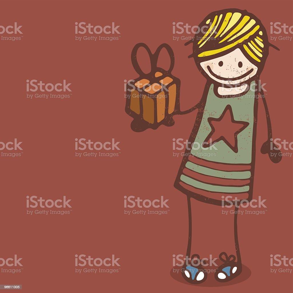 Girl with Present - Royalty-free Alleen kinderen vectorkunst