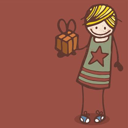 Girl With Present Stockvectorkunst en meer beelden van Alleen kinderen
