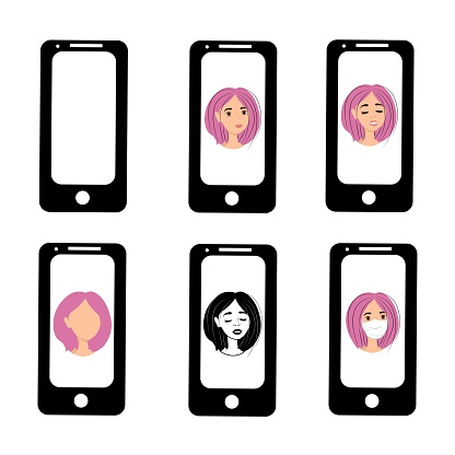 Girl with purple hair on the phone screen. Emotions of a woman on the screensaver of a smartphone. Remote communication using gadgets. Stock vector illustration for business, internet, social networks