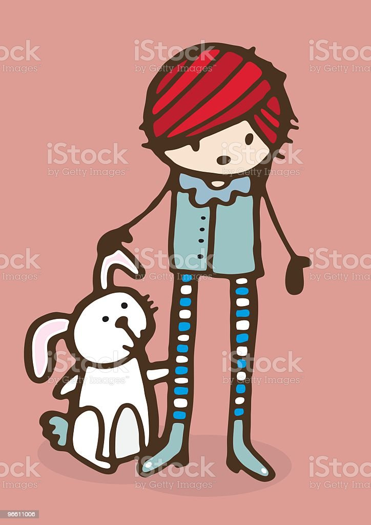 Girl With Rabbit - Royalty-free Animal Themes stock vector