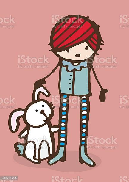 Girl With Rabbit-vektorgrafik och fler bilder på Avkoppling
