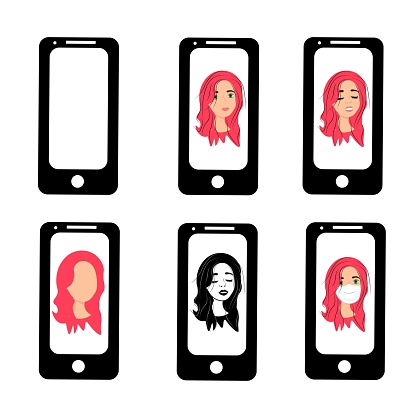 Girl with red hair on the phone screen. Emotions of a woman on the screensaver of a smartphone. Remote communication using gadgets. Stock vector illustration for business, internet, social networks.