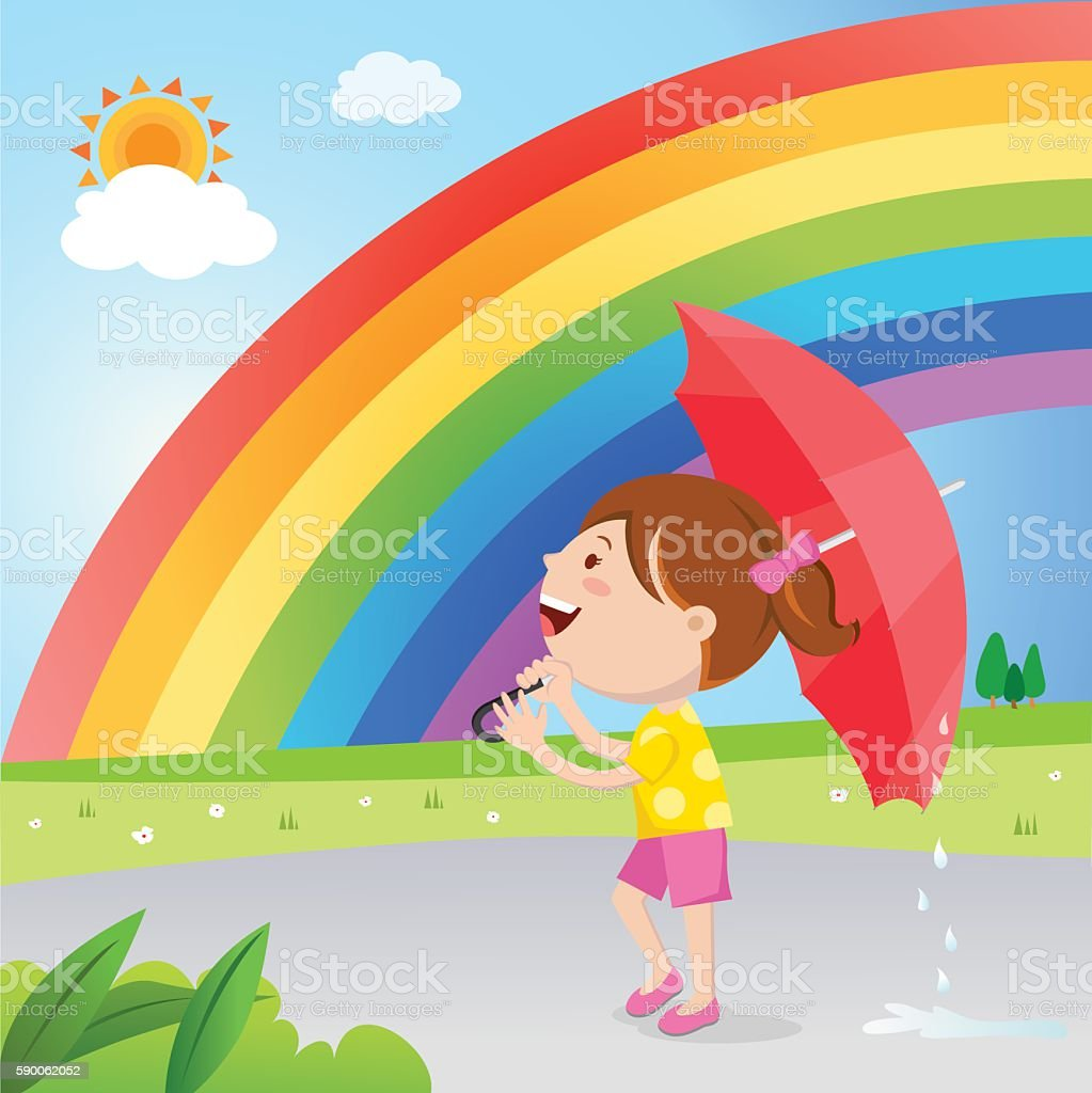 Vector illustration of a little girl with umbrella stands after the...
