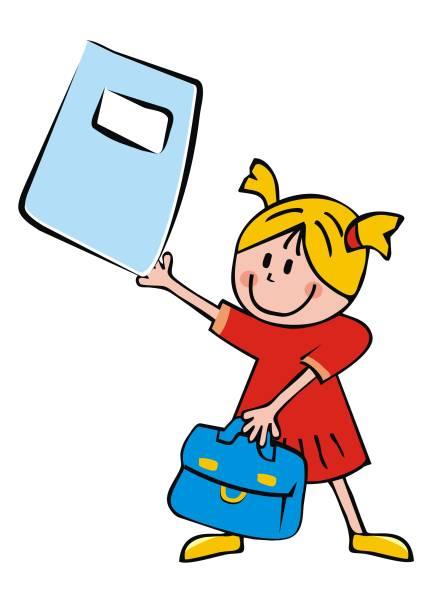 stockillustraties, clipart, cartoons en iconen met meisje met satchel en oefening boek, grappige vector illustratie - alleen één meisje