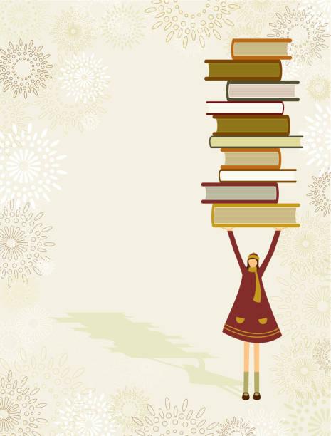 Girl with school books vector art illustration