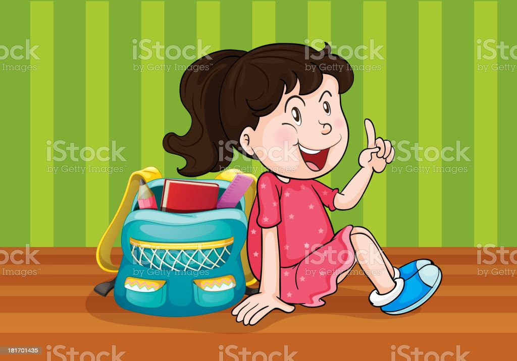 Girl with schoolbag royalty-free stock vector art