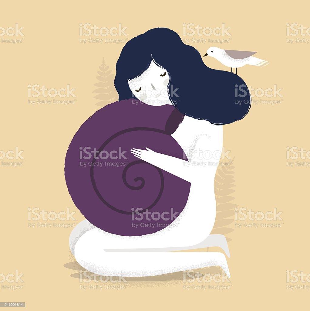 Girl with seashell. vector art illustration