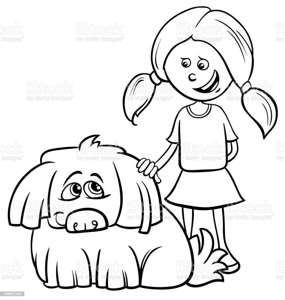 Ilustración De Chica Con Libro Para Colorear De Dibujos