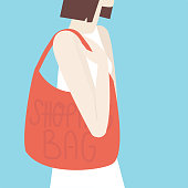 A girl with shopping bag