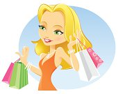 Vector illustration of blond girl with shopping bags.