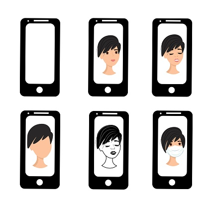 Girl with short hair on the phone screen. Emotions of a woman on the screensaver of a smartphone. Remote communication using gadgets. Stock vector illustration for business, internet, social networks.