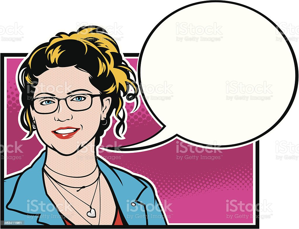 Girl With Speech Bubble vector art illustration