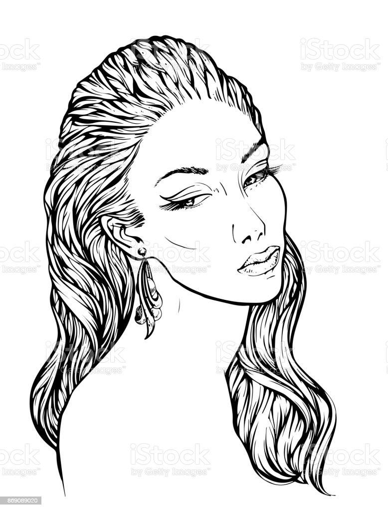 Dalgalı Saç Lineart Elle çizilmiş Vektör çizim Boyama Kitabı Için