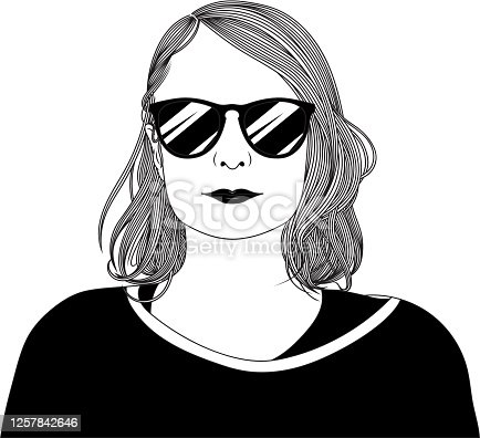 Hand drawn black and white portrait of a beautiful young woman with sunglasses. EPS10 vector illustration, global colors, easy to modify.