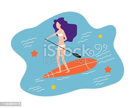 583830686istockphoto Girl with surfboard. Surfer vector illustration. Beach summer vacation. 1160991518