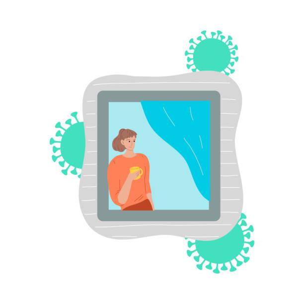stockillustraties, clipart, cartoons en iconen met meisje met thee die venster bekijkt en thuis voor bescherming tegen coronavirus blijft - avondklok