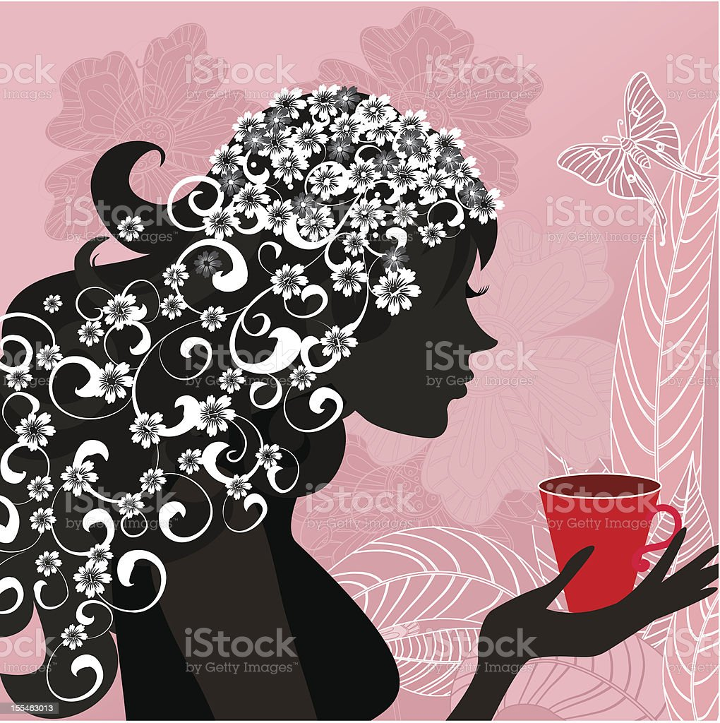 Girl with the tea royalty-free stock vector art
