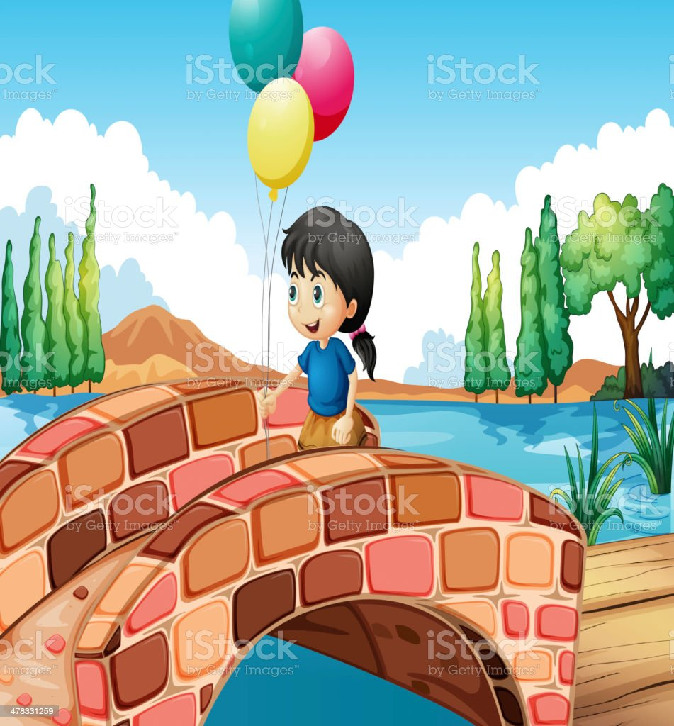 girl with three balloons walking along the bridge royalty-free stock vector art