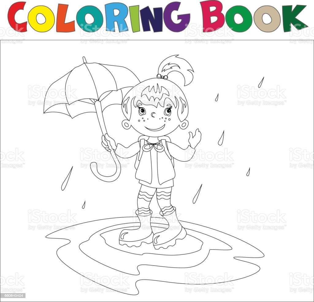 Girl With Umbrella Coloring Book Stock Illustration Download