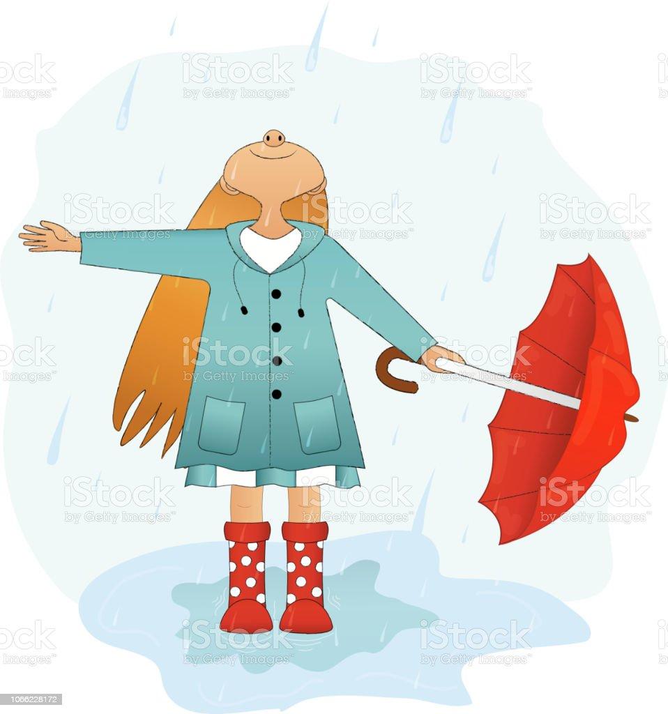 bdd10e365c6b Girl With Umbrella Is Happy Rain Stock Illustration - Download Image ...